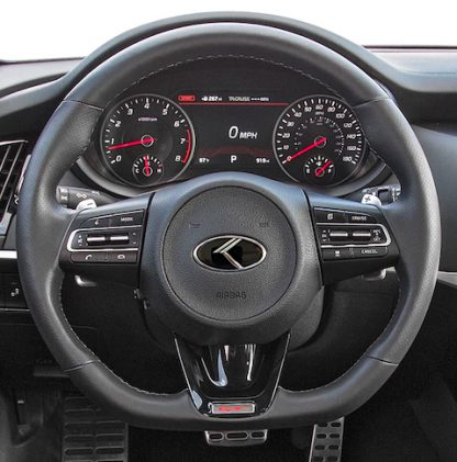 kia stinger steering wheel with vintage k logo