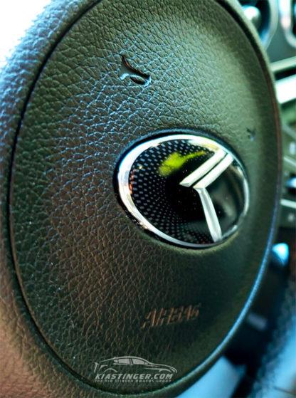 vintage k steering wheel emblem from the side