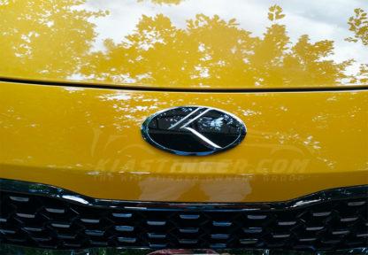 chrome vintage k badge on yellow stinger